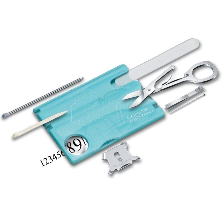 0.7240.T21 Швейцарская карточка SwissCard Nailcare Victorinox, 13 функций, голубой лед