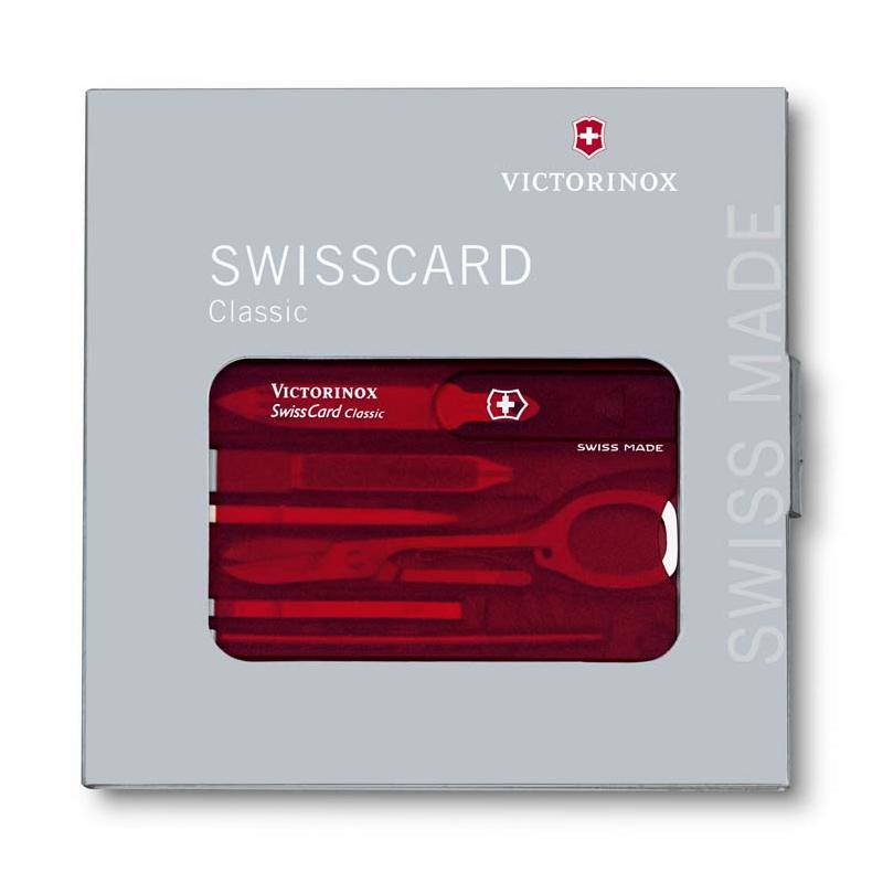 0.7100.T Швейцарская карточка SwissCard Classic Victorinox, 10 функций, Red transparent c упаковкой