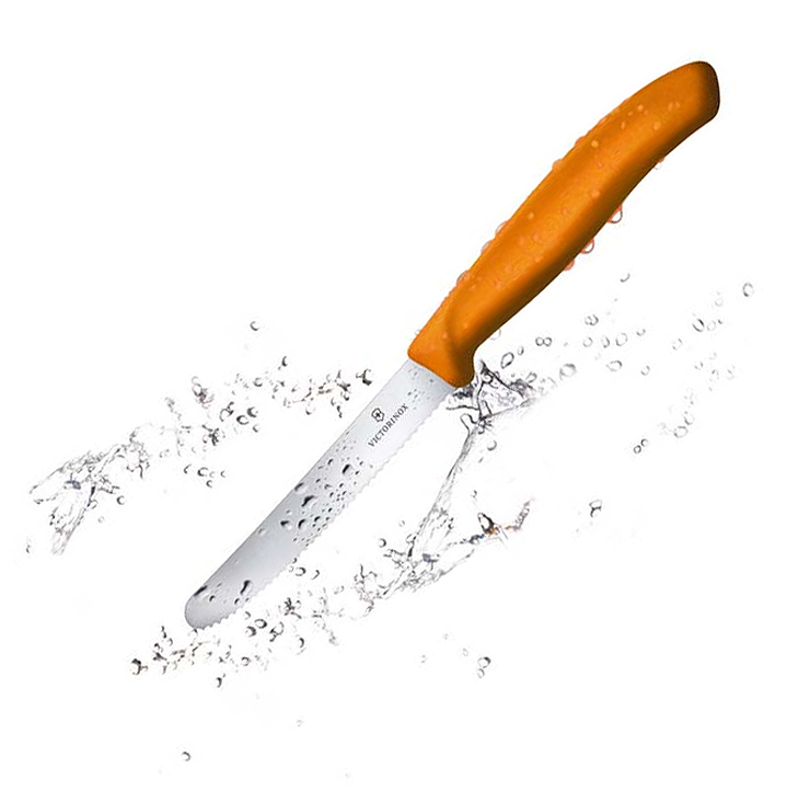 6.7836.L119 Столовый нож Victorinox SwissClassic, волнистое лезвие 11 см, оранжевый — victorinox.moscow